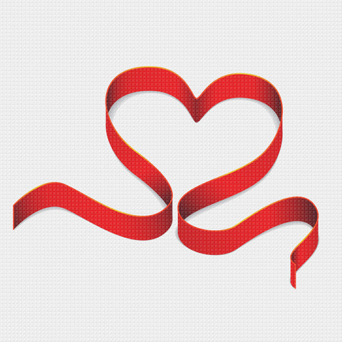 Contemporary Valentine Heart Ribbon Sew So Simple Counted Cross Stitch Pattern
