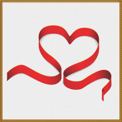 Contemporary Valentine Heart Ribbon Sew So Simple ™ Counted Cross Stitch or Counted Needlepoint Pattern - Orenco Originals LLC