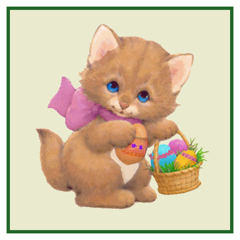 Contemporary Kitty Cat with Basket of Decorated Easter Eggs Counted Cross Stitch or Counted Needlepoint Pattern