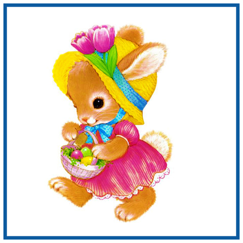 Contemporary Bunny in Pink Dress with Basket of Decorated Easter Eggs Counted Cross Stitch Pattern