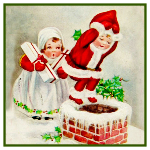 Vintage Christmas Santa Helpers Nimble Nicks # 23 Counted Cross Stitch Pattern