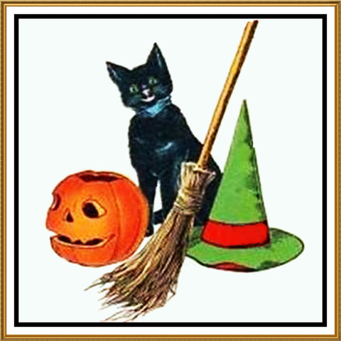 Black Cat Hat Broom and Pumpkin Halloween Counted Cross Stitch or Counted Needlepoint Pattern