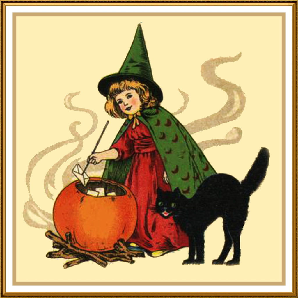 Girl Cauldron and Black Cat Halloween Counted Cross Stitch or Counted Needlepoint Pattern