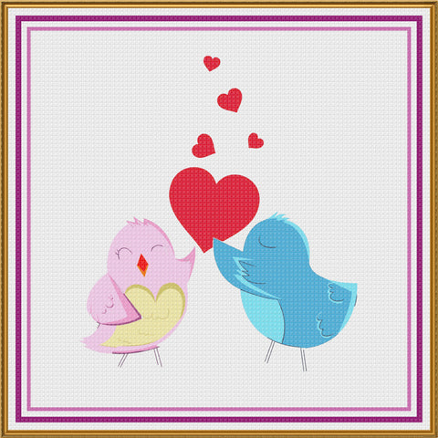 Contemporary Valentine Hearts Pink and Blue Love Birds Sew So Simple Counted Cross Stitch Pattern
