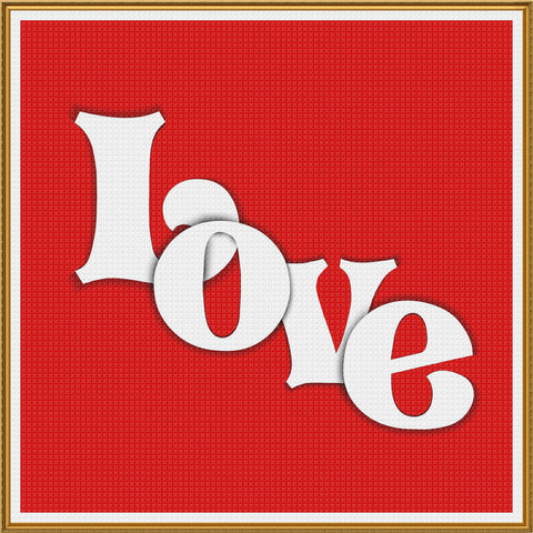 Contemporary Valentine Word Love Sew So Simple Counted Cross Stitch Pattern