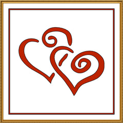 Contemporary Valentine Entwined Red Hearts Sew So Simple ™ Counted Cross Stitch or Counted Needlepoint Pattern