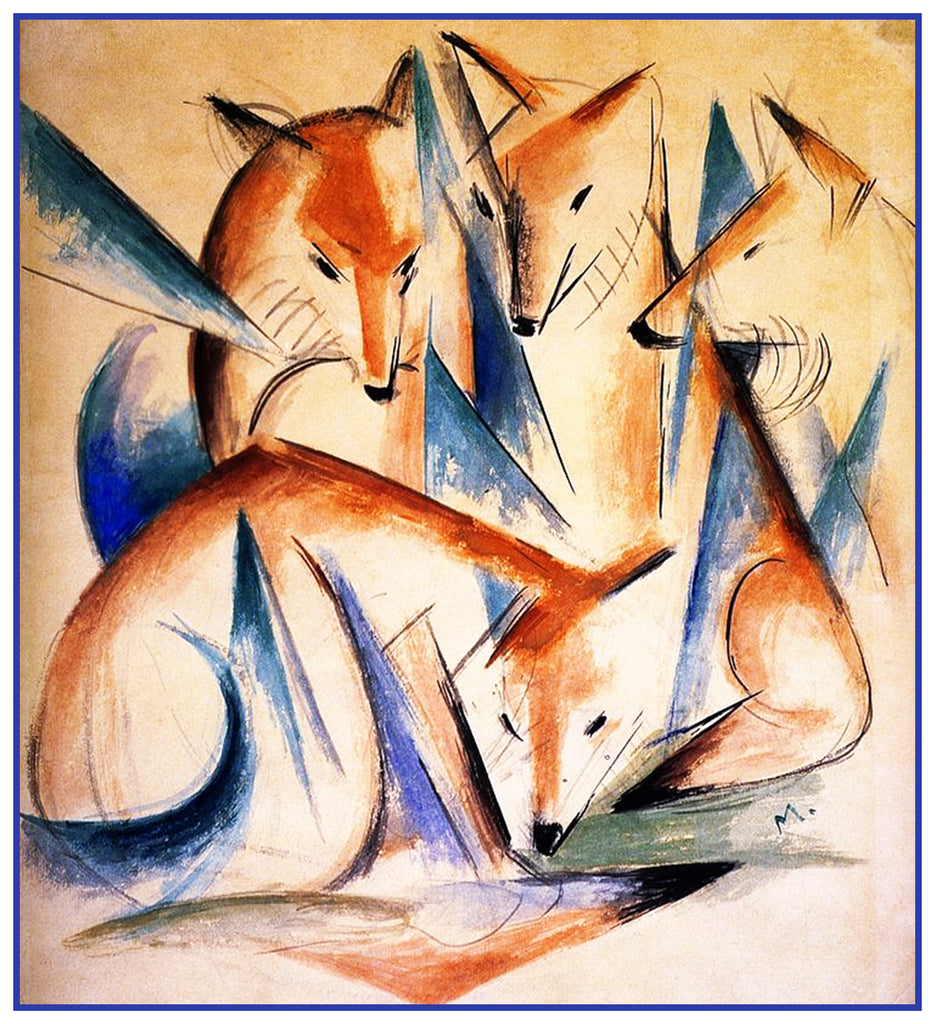4 Foxes Sketch by Expressionist Artis Franz Marc Counted Cross Stitch or Counted Needlepoint Pattern - Orenco Originals LLC