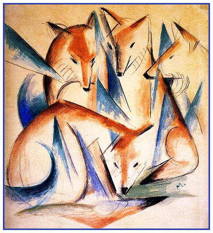 4 Foxes Sketch by Expressionist Artis Franz Marc Counted Cross Stitch Pattern