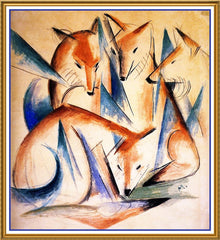 4 Foxes Sketch by Expressionist Artis Franz Marc Counted Cross Stitch  Pattern - Orenco Originals LLC