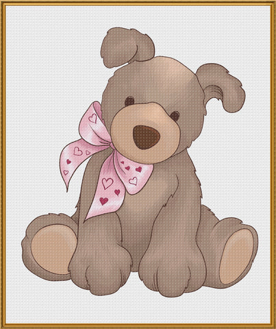 Contemporary Valentine Teddy Bear with Heart Bow Sew So Simple Counted Cross Stitch Pattern