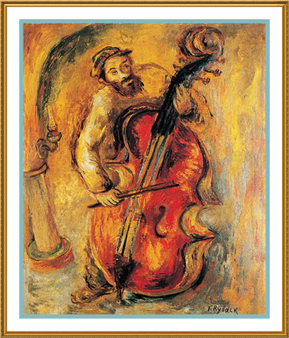 Musician Playing the Cello by Russian Artist  Issachar Ber Ryback's Counted Cross Stitch or Counted Needlepoint Pattern