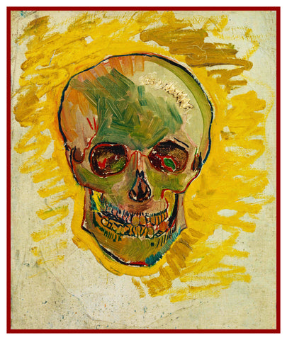 Vibrant Human Skull inspired by Impressionist Vincent Van Gogh's Painting Counted Cross Stitch Pattern