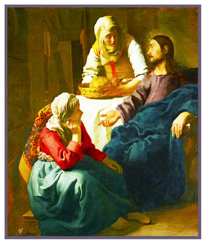 Christ in the Home of Martha and Mary by Johannes Vermeer Counted Cross Stitch or Counted Needlepoint Pattern