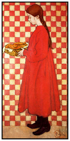 Kersti with Breadbasket by Swedish Artist Carl Larsson Counted Cross Stitch Pattern