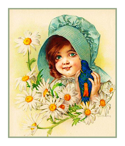 Child of Summer Flower Daisies by Maud Humphrey Bogart Counted Cross Stitch Pattern