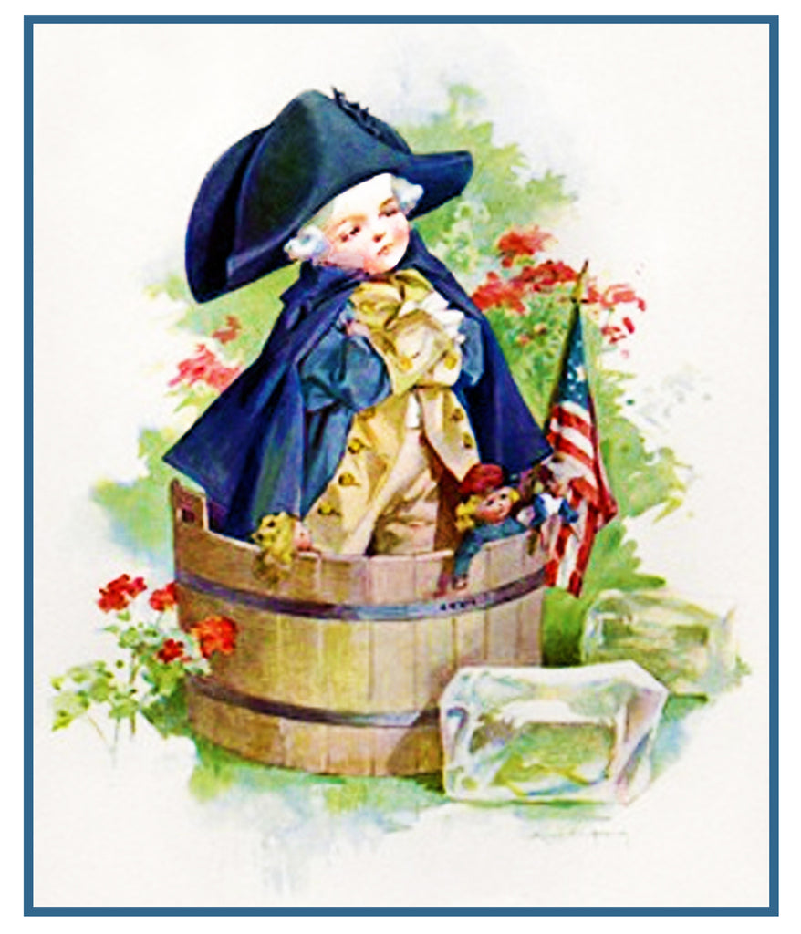 Washington Crossing Delaware Playing Dress-up by Maud Humphrey Bogart Counted Cross Stitch or Counted Needlepoint Pattern