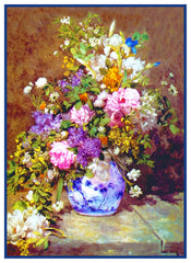 Spring Bouquet inspired by Pierre Auguste Renoir's impressionist painting Counted Cross Stitch or Counted Needlepoint Pattern