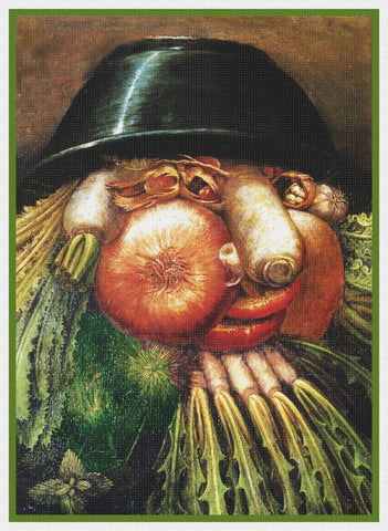 Giuseppe Arcimboldo The Vegetable Gardener Counted Cross Stitch Pattern