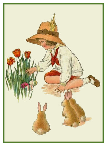 Vintage Child Hiding Easter Eggs with Baby Bunnies Counted Cross Stitch Pattern