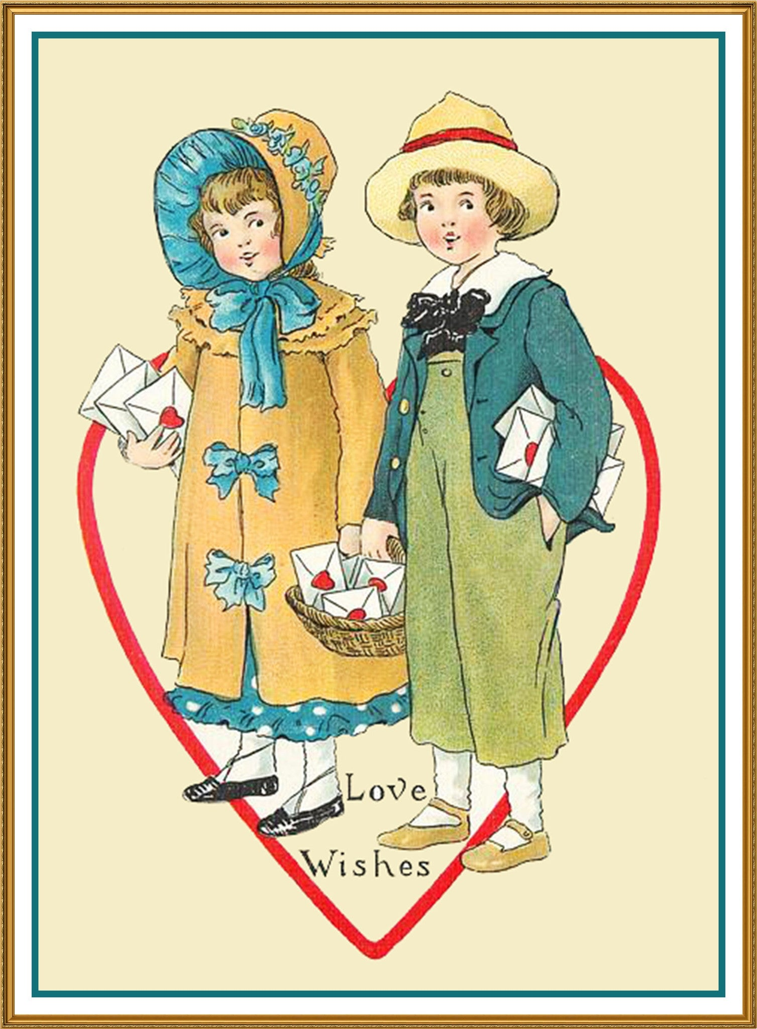 Victorian Valentine Boy and Girl Counted Cross Stitch Chart Pattern