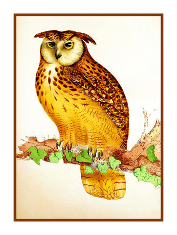 Indian Eagle Owl by Naturalist John Gould of Birds Counted Cross Stitch or Counted Needlepoint Pattern