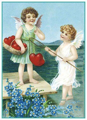 Valentines Cherubs Fishing for Hearts from Antique Card Counted Cross Stitch Pattern