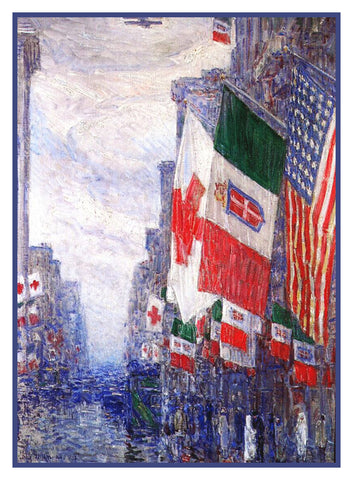 Flags on Italian Day New York City by American Impressionist Painter Childe Hassam Counted Cross Stitch Pattern