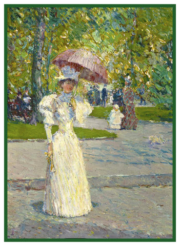 Woman strolling with a Parasol by American Impressionist Painter Childe Hassam Counted Cross Stitch Pattern