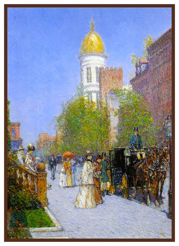 A Fine New York Spring Morning by American Impressionist Painter Childe Hassam Counted Cross Stitch Pattern