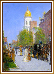 A Fine New York Spring Morning by American Impressionist Painter Childe Hassam Counted Cross Stitch or Counted Needlepoint Pattern - Orenco Originals LLC