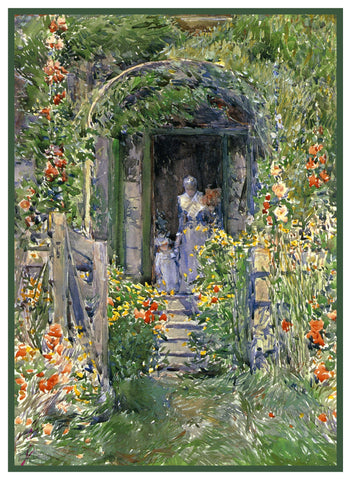 Garden in its Glory Isle of Shoals by American Impressionist Painter Childe Hassam Counted Cross Stitch or Counted Needlepoint Pattern