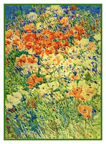 Poppy Flower Detail from Garden on Isle of Shoals by American Impressionist Painter Childe Hassam Counted Cross Stitch or Counted Needlepoint Pattern