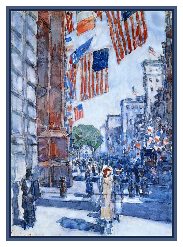 Flags on New York City Fifth Avenue by American Impressionist Painter Childe Hassam Counted Cross Stitch or Counted Needlepoint Pattern