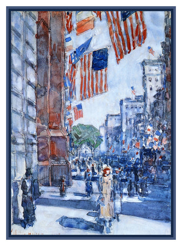 Flags on New York City Fifth Avenue by American Impressionist Painter Childe Hassam Counted Cross Stitch Pattern