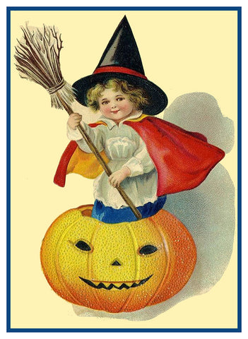 Child Playing Witch in Pumpkin Halloween Counted Cross Stitch or Counted Needlepoint Pattern