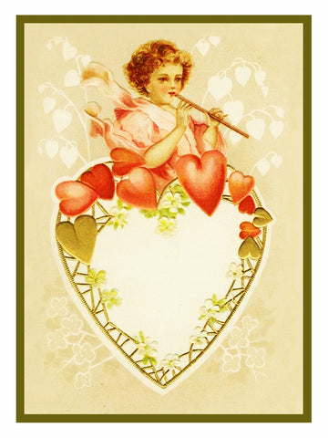 Victorian Valentine Cupid on a Heart Counted Cross Stitch Pattern