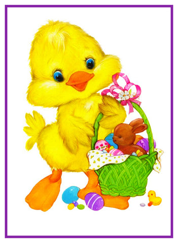 Contemporary Easter Baby Duck With Basket Counted Cross Stitch or Counted Needlepoint Pattern