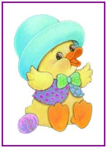 Contemporary Easter Baby Duck in Blue Hat Counted Cross Stitch or Counted Needlepoint Pattern