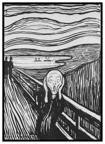 Sketch for the Scream Black and White by Symbolist Artist Edvard Munch Counted Cross Stitch Pattern