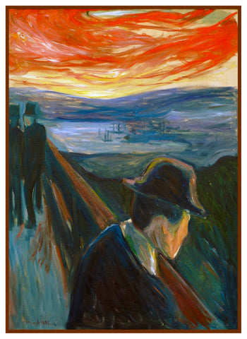 Despair at Sunset by Symbolist Artist Edvard Munch Counted Cross Stitch Pattern
