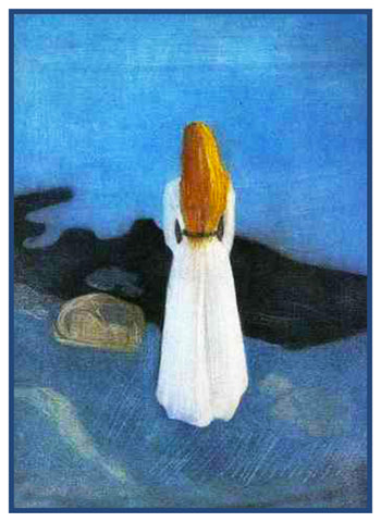 Young Woman on Shore by Symbolist Artist Edvard Munch Counted Cross Stitch Pattern