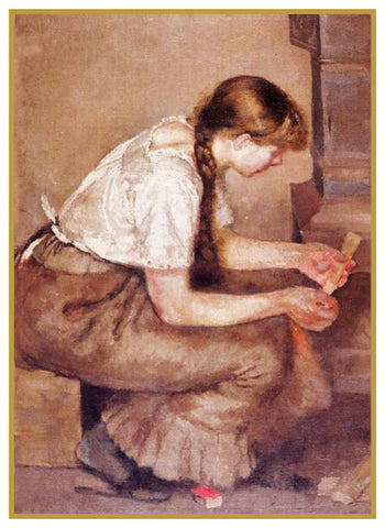 Girl Placing Kindling in Fire by Symbolist Artist Edvard Munch Counted Cross Stitch Pattern