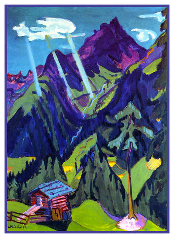 Landscape in  the Sun by Ernst Ludwig Kirchner Counted Cross Stitch or Counted Needlepoint Pattern