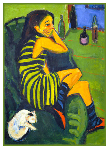 Portrait of a Female Artist by Ernst Ludwig Kirchner Counted Cross Stitch or Counted Needlepoint Pattern