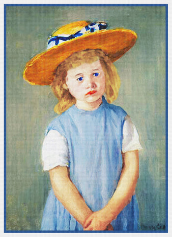 Young Girl in a Straw Hat by American impressionist artist Mary Cassatt Counted Cross Stitch Pattern
