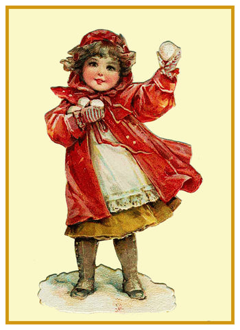 Snow Ball Throwing Girl Frances Brundage Holiday Christmas Counted Cross Stitch Pattern