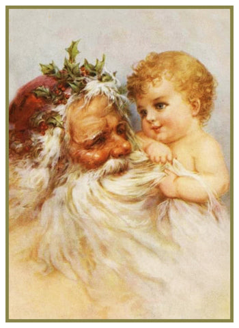 Santa Claus and a Baby Frances Brundage Holiday Christmas Counted Cross Stitch Pattern