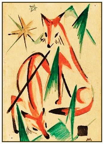 Two Foxes Sketch by Expressionist Artis Franz Marc Counted Cross Stitch or Counted Needlepoint Pattern
