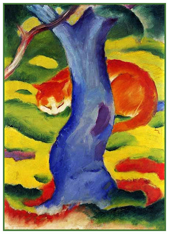 Cat Under A Tree by Expressionist Artis Franz Marc Counted Cross Stitch or Counted Needlepoint Pattern