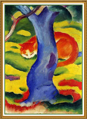 Cat Under A Tree by Expressionist Artis Franz Marc Counted Cross Stitch or Counted Needlepoint Pattern - Orenco Originals LLC